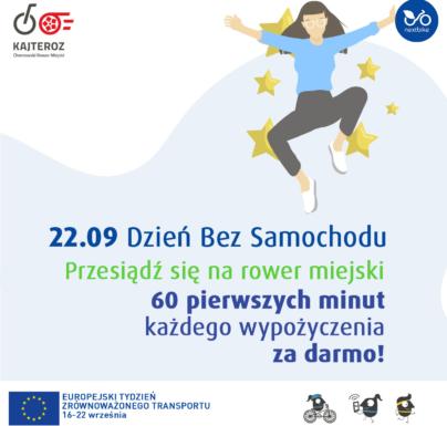 (Polski) Dzień bez samochodu na rowerach miejskich KajTeroz: pierwsza godzina za darmo